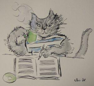 作曲中の猫の絵。