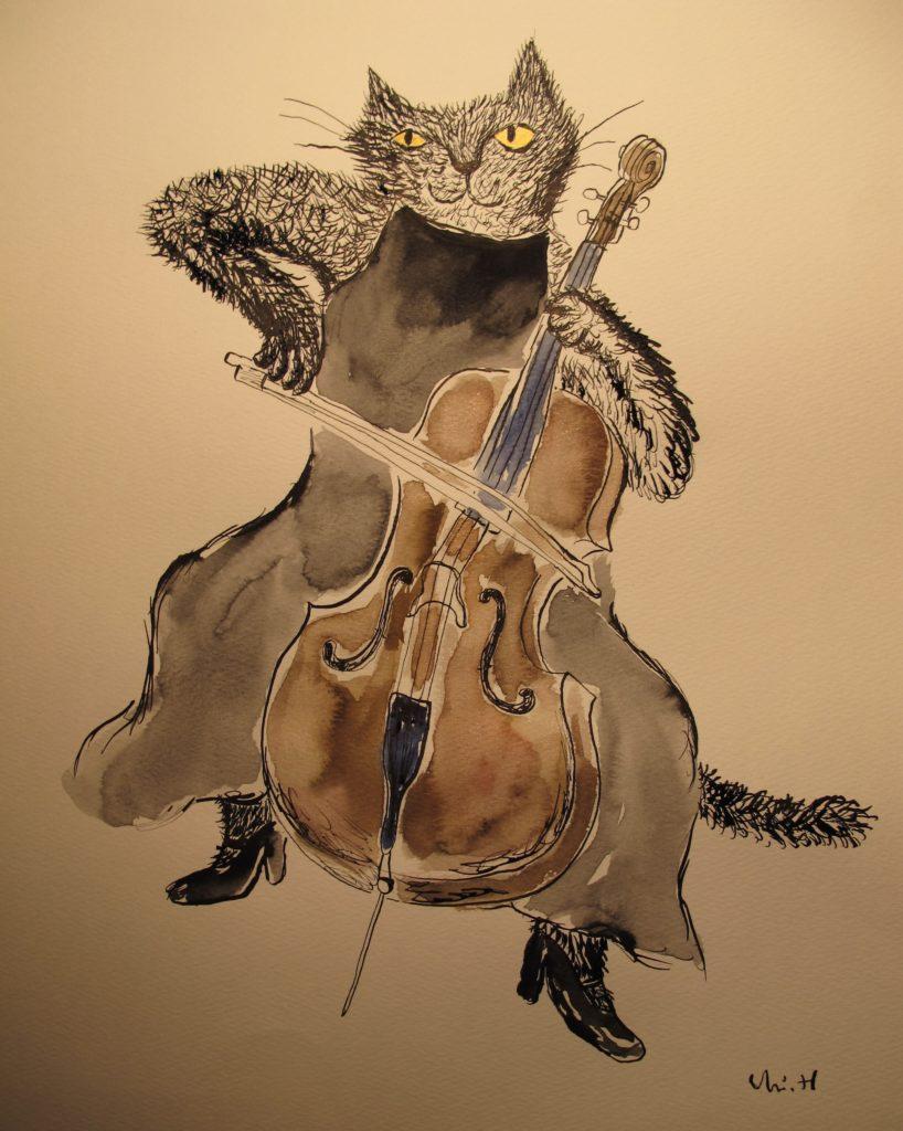 チェロを弾く猫の絵