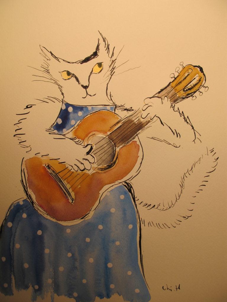 ギターを弾く猫の絵